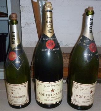Three Moet Amp Chandon Large Empty Display Bottles