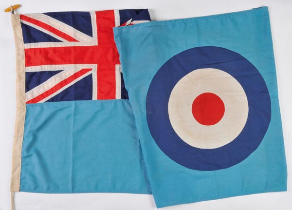 Lot 295 - *RAF Station-Flag. A Union Jack emblem with distinctive roundel on blue cloth ground, c. 1960s,