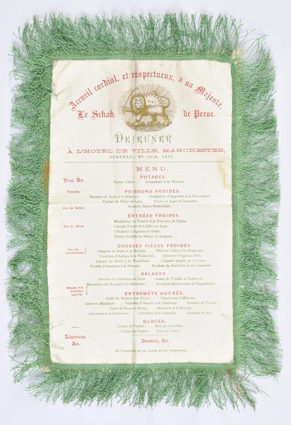 *Royal Menu - Shah of Persia. A silk menu for a lunch at Manchester Town Hall, commemorating the