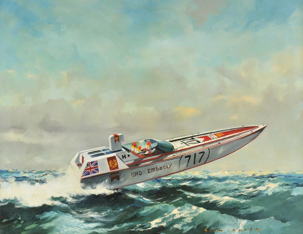 Lot 98 - *Pears (Dion). Offshore Power-Boat Race`, an original painting depicting the Embassy-Sponsored Uno