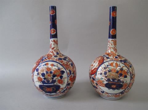 Pair Of C19th Japanese Imari Porcelain Globular Long Necked Vases 25 H