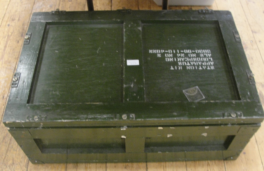 """Lot 323A - 1980`s British military """"station kit apparatus loud speaking"""" with inspection label from stores"""