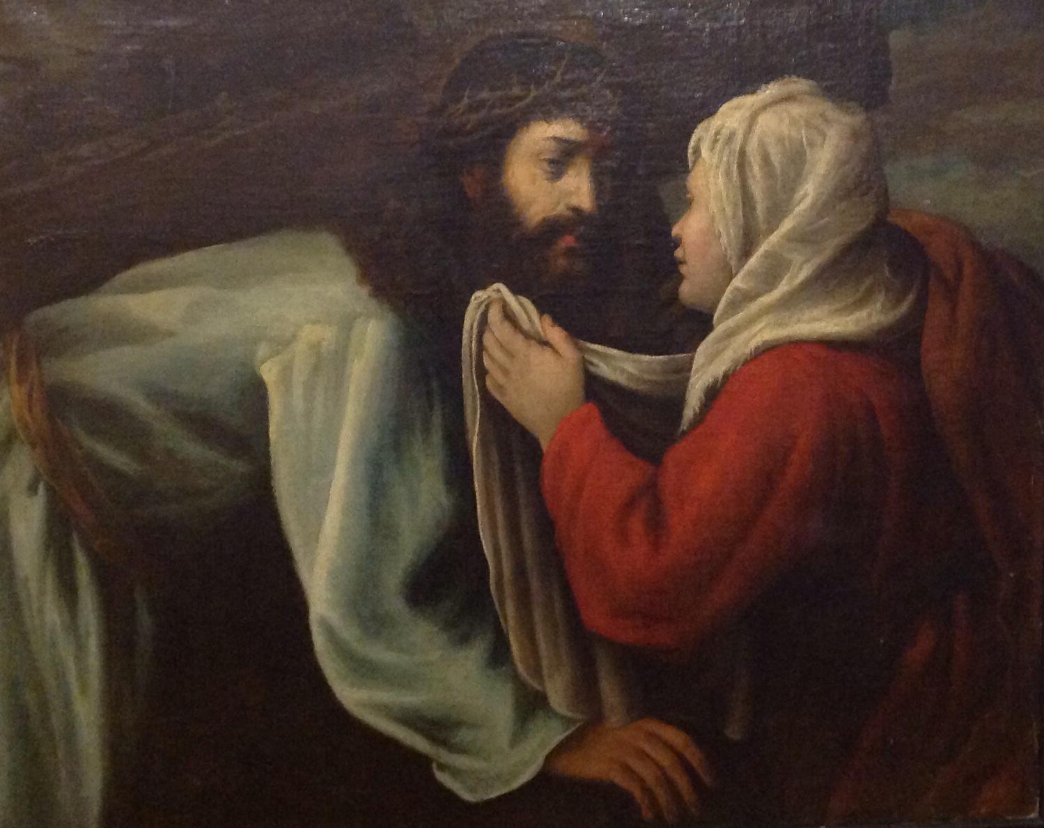 VENETIAN SCHOOL, CIRCA 1600 Christ on the road to Calvary with Saint Veronica, framed. (89cm x 64cm)