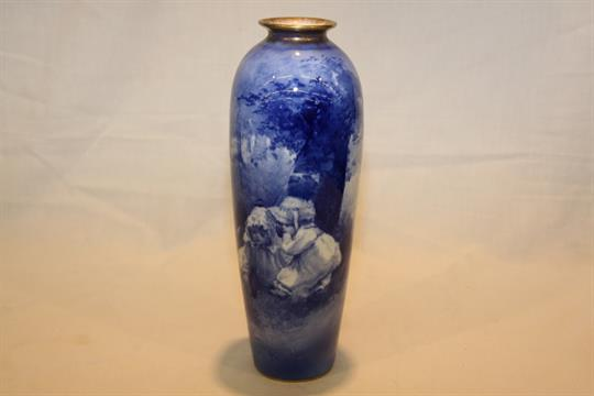 A Royal Doulton Blue And White Vase Depicting Young Children