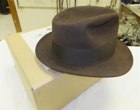2b17136f6 A Herbert Johnson brown felt trilby hat, size 7¼, with a Herbert ...