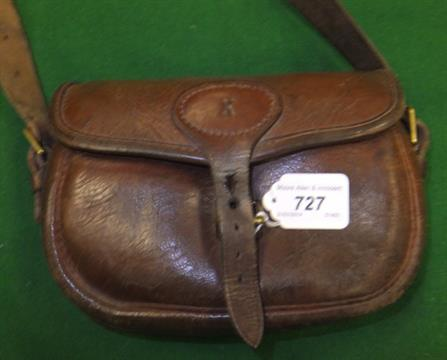 A Brady leather cartridge bag with canvas strap (50) CONDITION REPORTS Bag  with quite a lot of