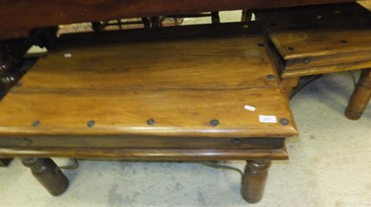 An Indian Rectangular Metal Studded Coffee Table Together With - Studded coffee table