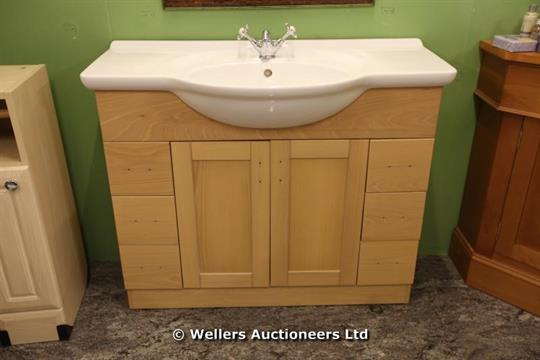 Roper Rhodes Valencia Bathroom Vanity Unit In Maple With Slab Top Basin And Traditional Mixer Ta