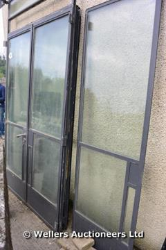 TWO GLAZED CRITTALL STYLE STEEL DOORS AND MATCHING SIDE PANELS. TOTAL 3550W X 2150H AT LOW POINT & TWO GLAZED CRITTALL STYLE STEEL DOORS AND MATCHING SIDE PANELS ...