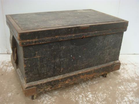 Antique Fully Fitted Hardwood Cabinet Makers Tool Chest with Contents