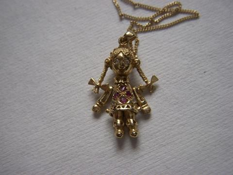 9ct gold rag doll pendant with stones gold necklace mozeypictures Images