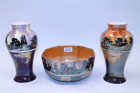 Wilkinsons Lustre Pans Garden Fruit Bowl And Two Vases All Numbered