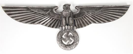 Large Nazi cast aluminium eagle and Swastika badge, possibly from a