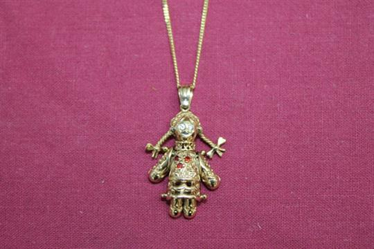 Gold 9ct articulated little girl rag doll with pigtail plaits gold 9ct articulated little girl rag doll with pigtail plaits pendant on gold 9ct chain mozeypictures Images