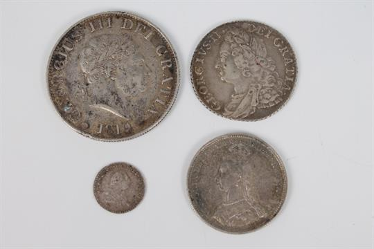 1819 George III - Half Crown, 1758 George II Shilling, 1800 George