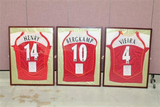 544993abc Three framed Arsenal Home Team shirts - signed Dennis Bergkamp, Thierry  Henry and Patrick Vieira,