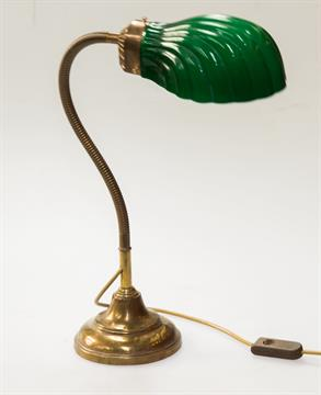 A vintage angle poise brass desk lamp with shell shaped ribbed a vintage angle poise brass desk lamp with shell shaped ribbed green glass shade flexible ringe aloadofball Choice Image