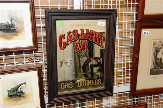A framed advertising mirror, Sheffield United Gas Light Company