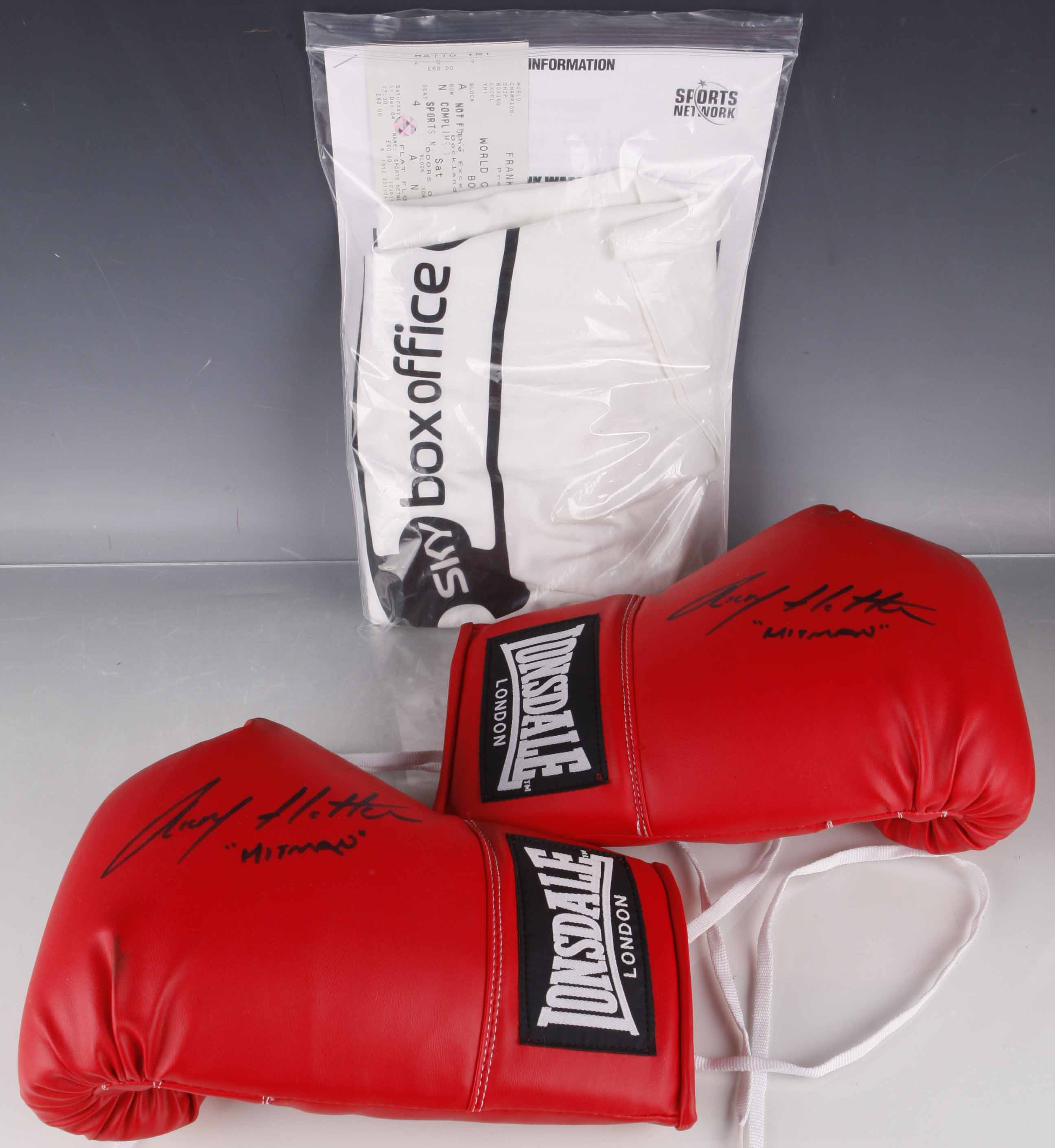 An Authentically Signed Pair Of Ricky Hatton Hitman Boxing Gloves Signed For The Present Vendo