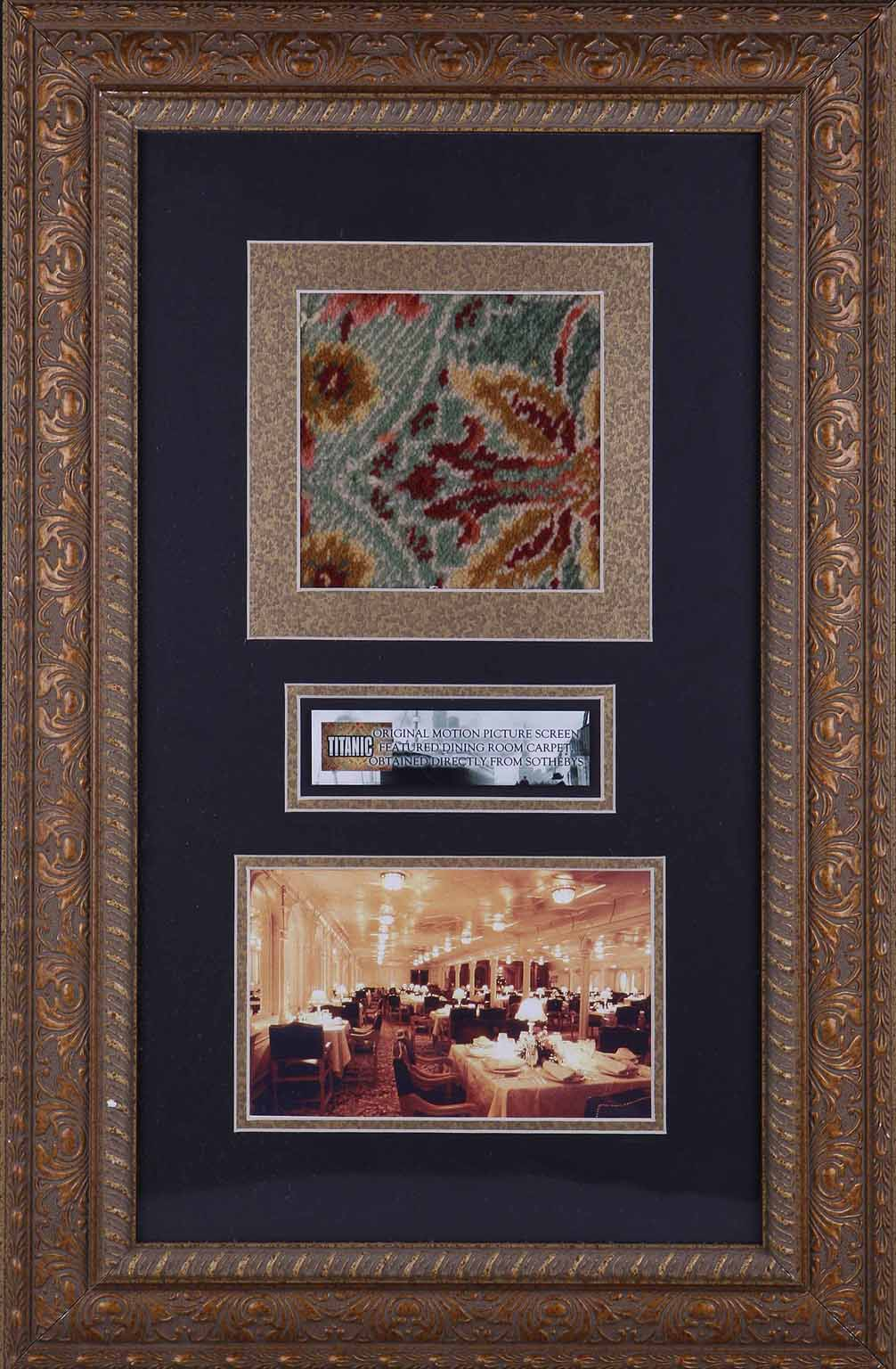 Titanic Film Memorabilia A Piece Of Carpet From The Screen Dining