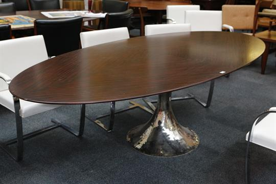 Charming A Julian Chichester Dakota Dining Table, 21st Century, Elliptical Santos  Rosewood Top On Polished