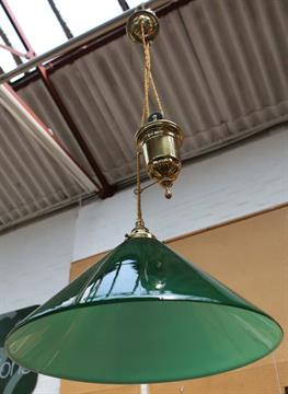 A 20th century rise and fall ceiling light brass mechanism and a 20th century rise and fall ceiling light brass mechanism and green glass conical shade origin mozeypictures Image collections