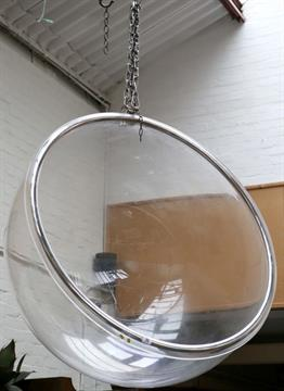 An Eero Aarnio Style `Bubble Chair`, A Clear Perspex Spherical Hanging Chair .
