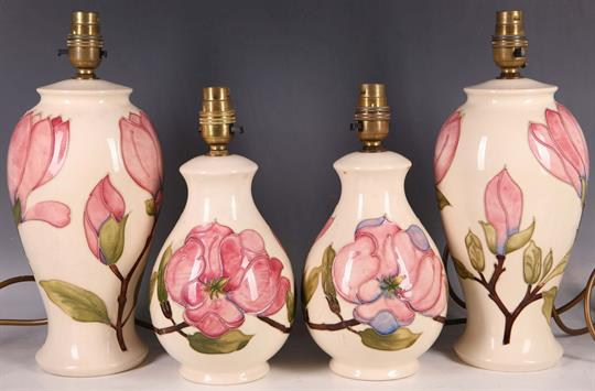 A Pair Of Moorcroft Pink Magnolia Contemporary Tubeline Baluster