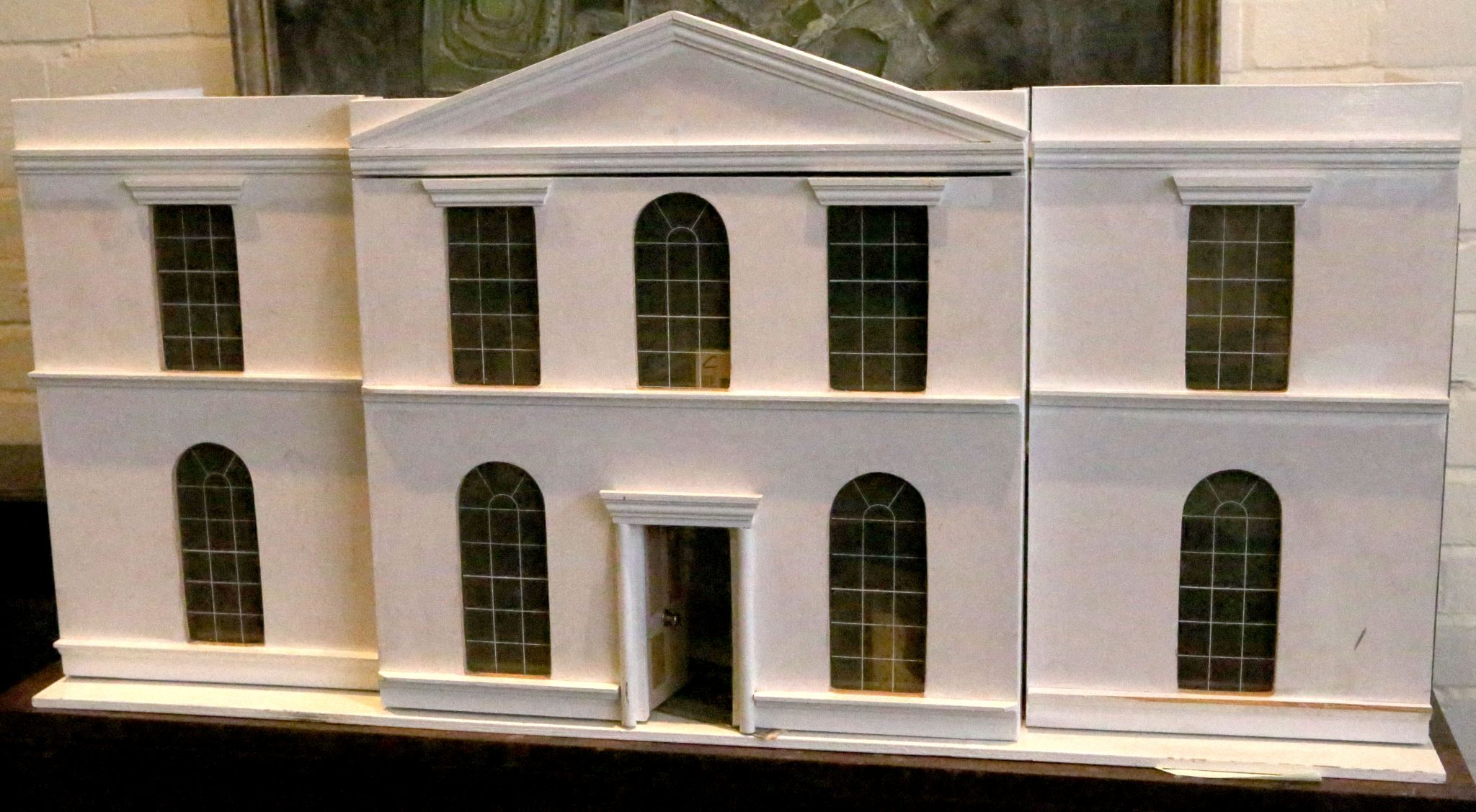 Lot 149 - A large painted wooden Palladian style dolls house with nine windows and & A large painted wooden Palladian style dolls house with nine ...