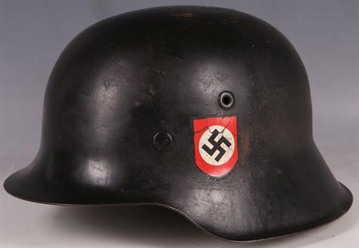 M1942 WW2 German military helmet, black, Nazi Party decal, full