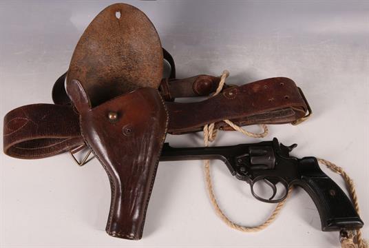 An Enfield No2 MK1  38 service revolver, gun metal finish