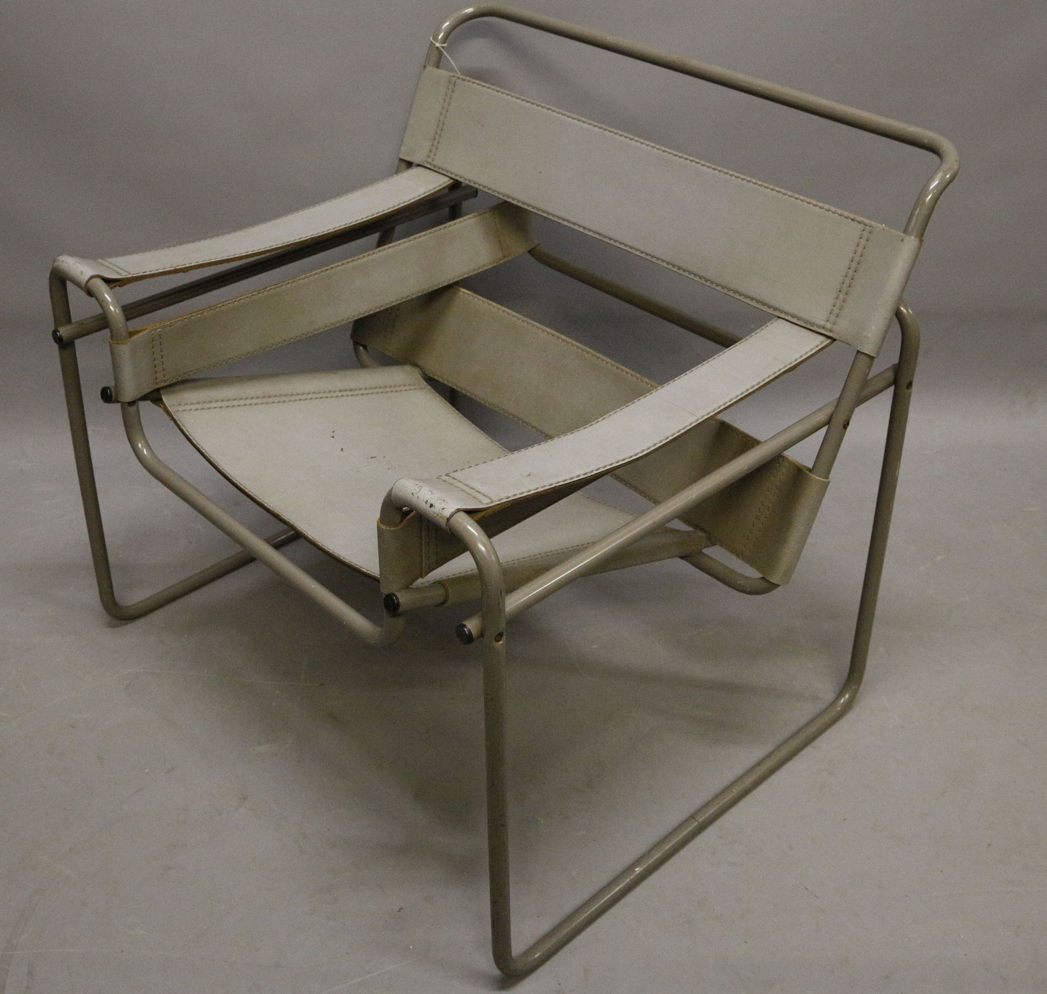 A mid 20th century Wassily chair by Marcel Breuer grey leather