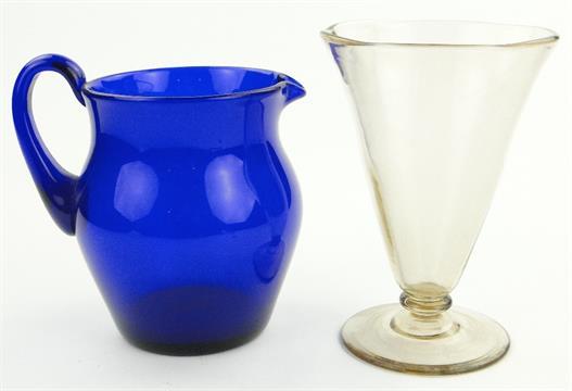An Antique Bristol Blue Glass Jug 725 And A Glass Vase