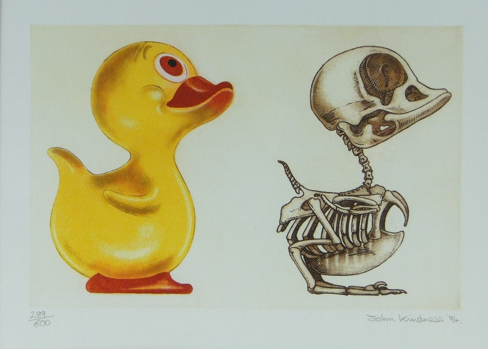 John Kindness Colour Print Anatomy Of A Rubber Duck Signed In