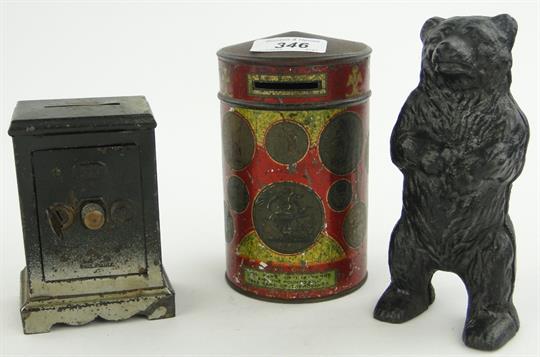 Tinplate moneybox designed as a safe, 4 5