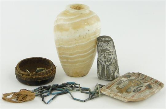 Early Egyptian Alabaster Vase 5 And Other Egyptian Artifacts