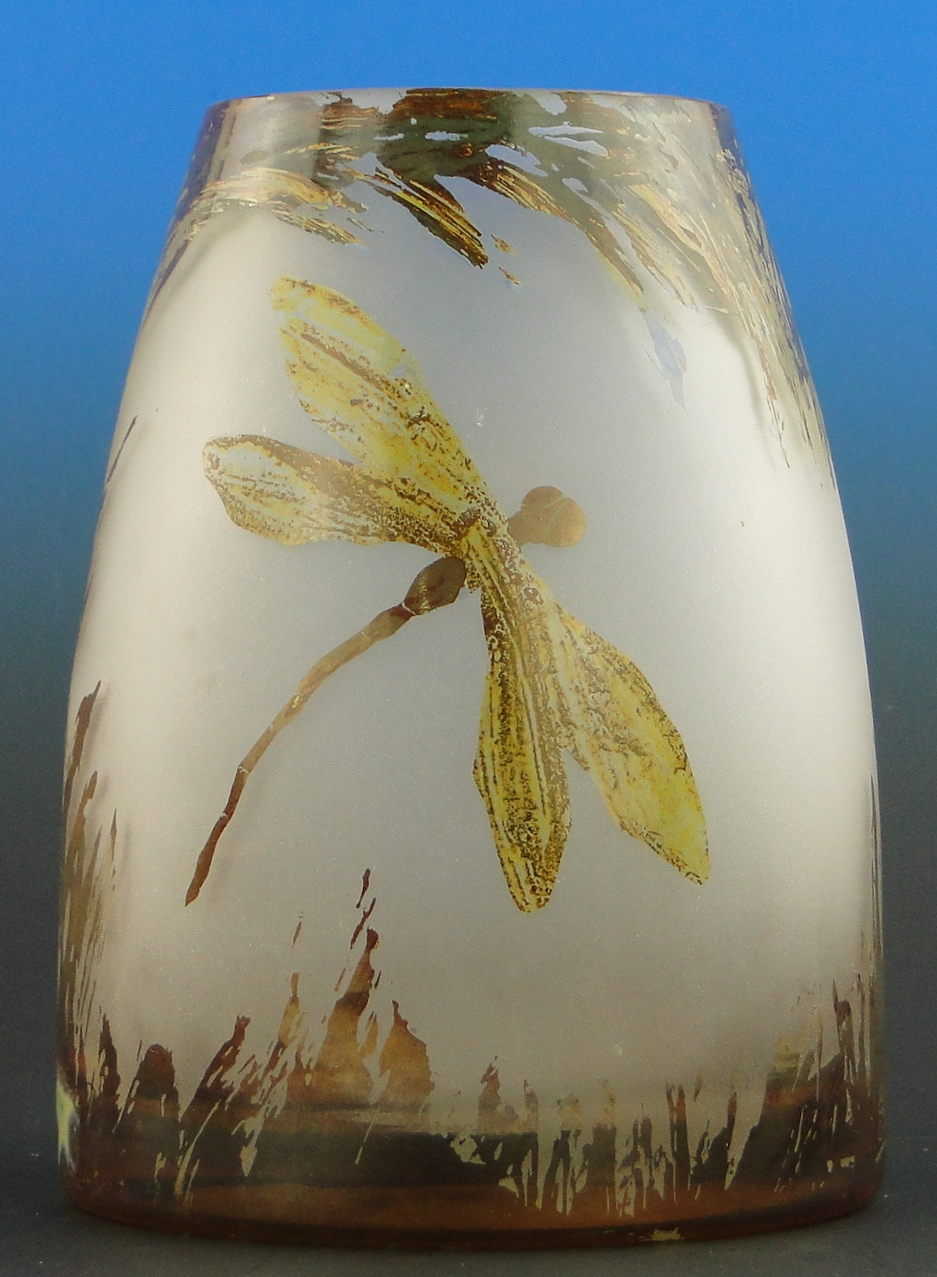 """Lot 26 - Large art glass vase by Miroslaw Stankiewicz, with dragonfly designs, signed, height 8.5"""""""