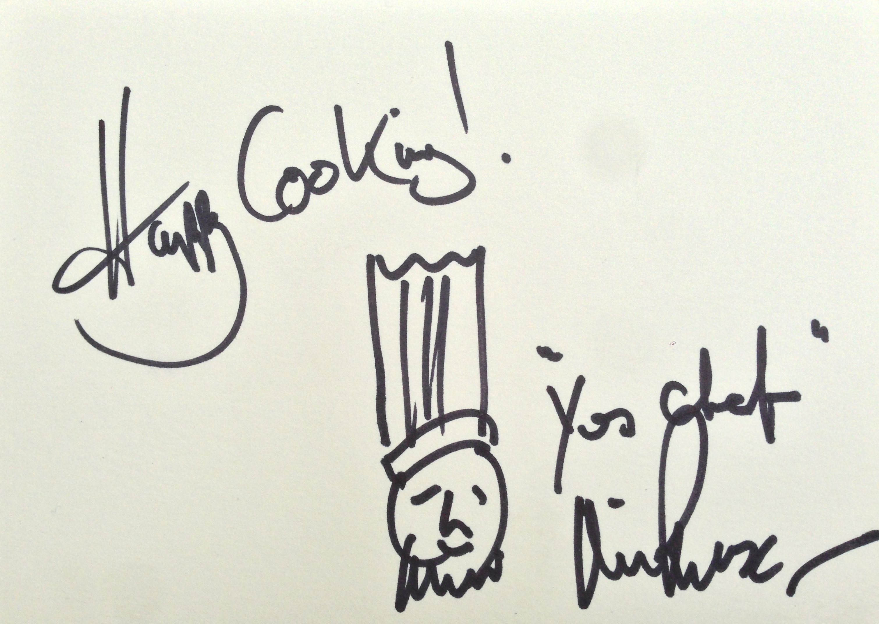Lot 23 - Michel Roux Jnr Untitled sketch, signed and inscribed Happy Cooking Yes Chef pen and ink on paper