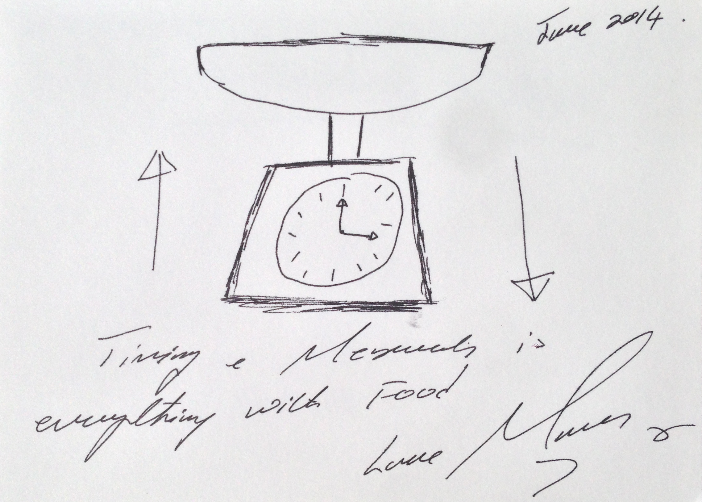 Lot 24 - Marcus Wareing Timing & Measurements is everything with Food (sic) signed Love Marcus and dated