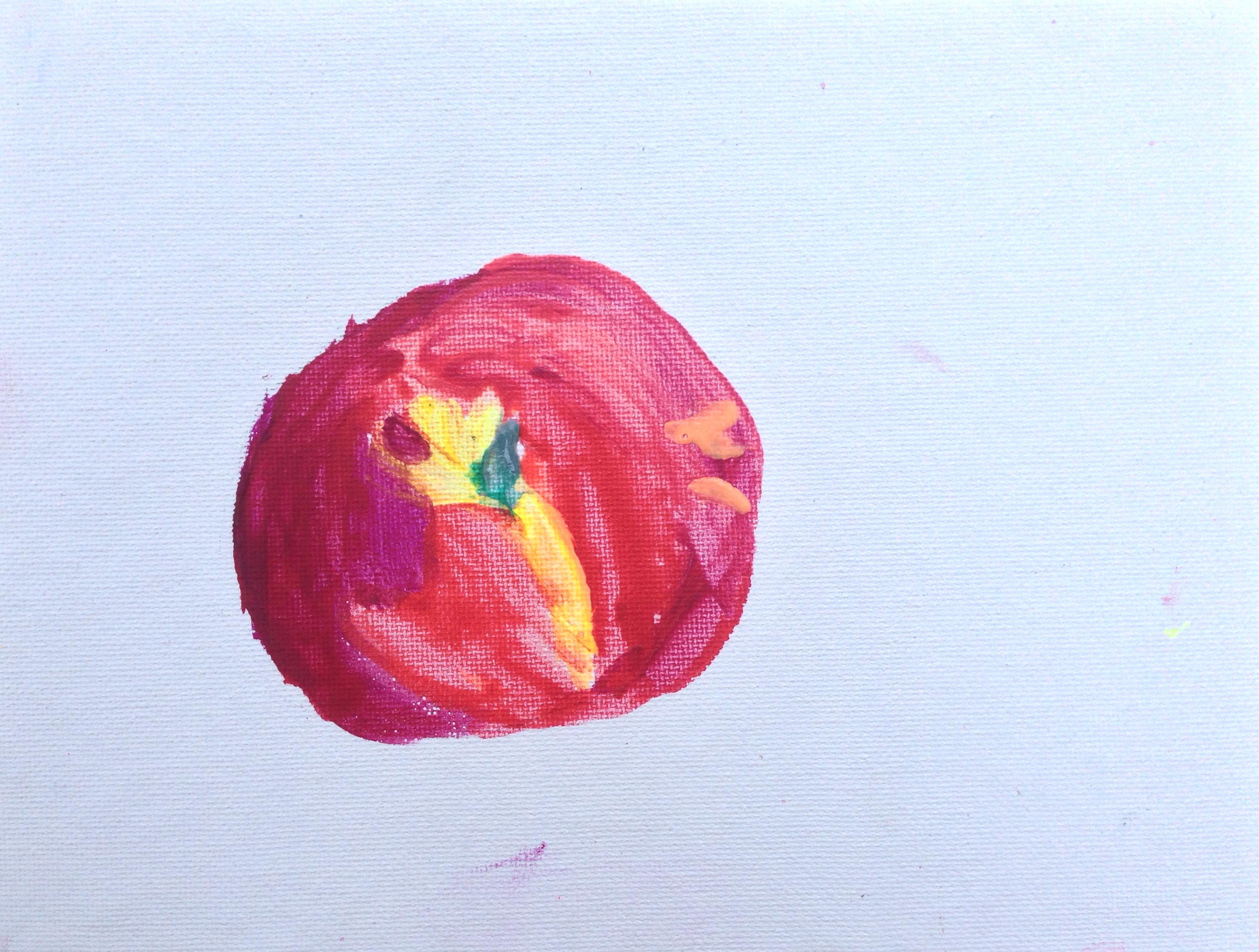 Lot 35 - Thea Levine Peach oil on canvas board 15 x 20.5cm