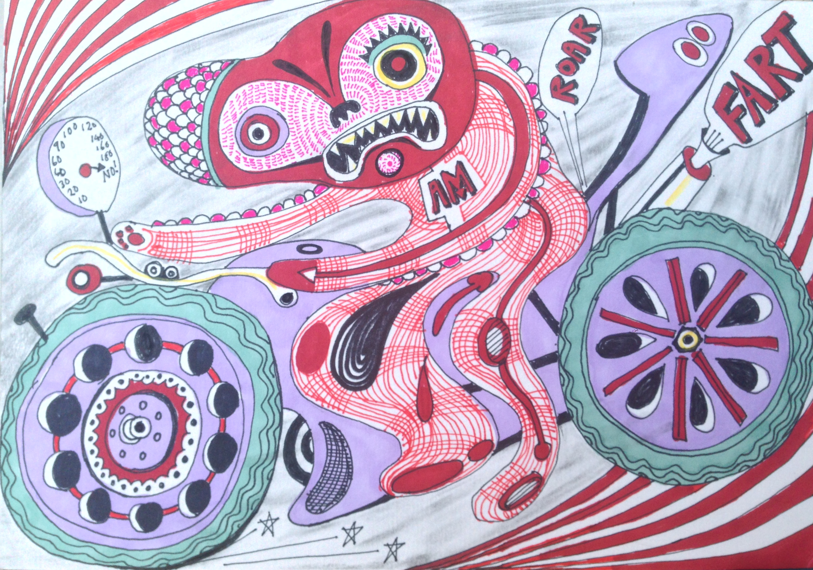 Lot 40 - Grayson Perry CBE Doodle Pen and acrylic on card signed, stamped and dated on the back 14 x 20.5cm