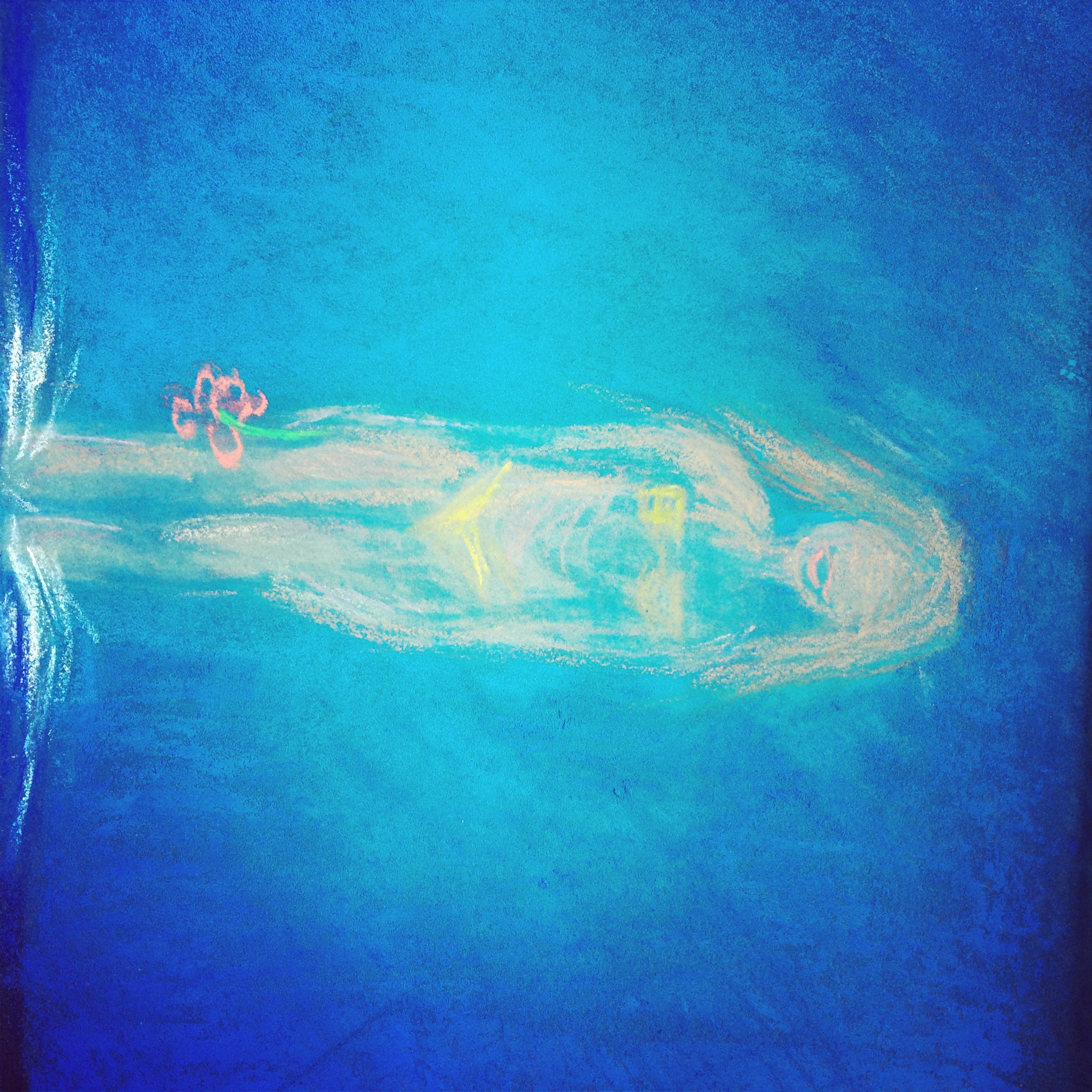 Lot 43 - Germaine McCormack Kos Take the Plunge signed on the back oil pastel on card 15 x 23cm Executed in