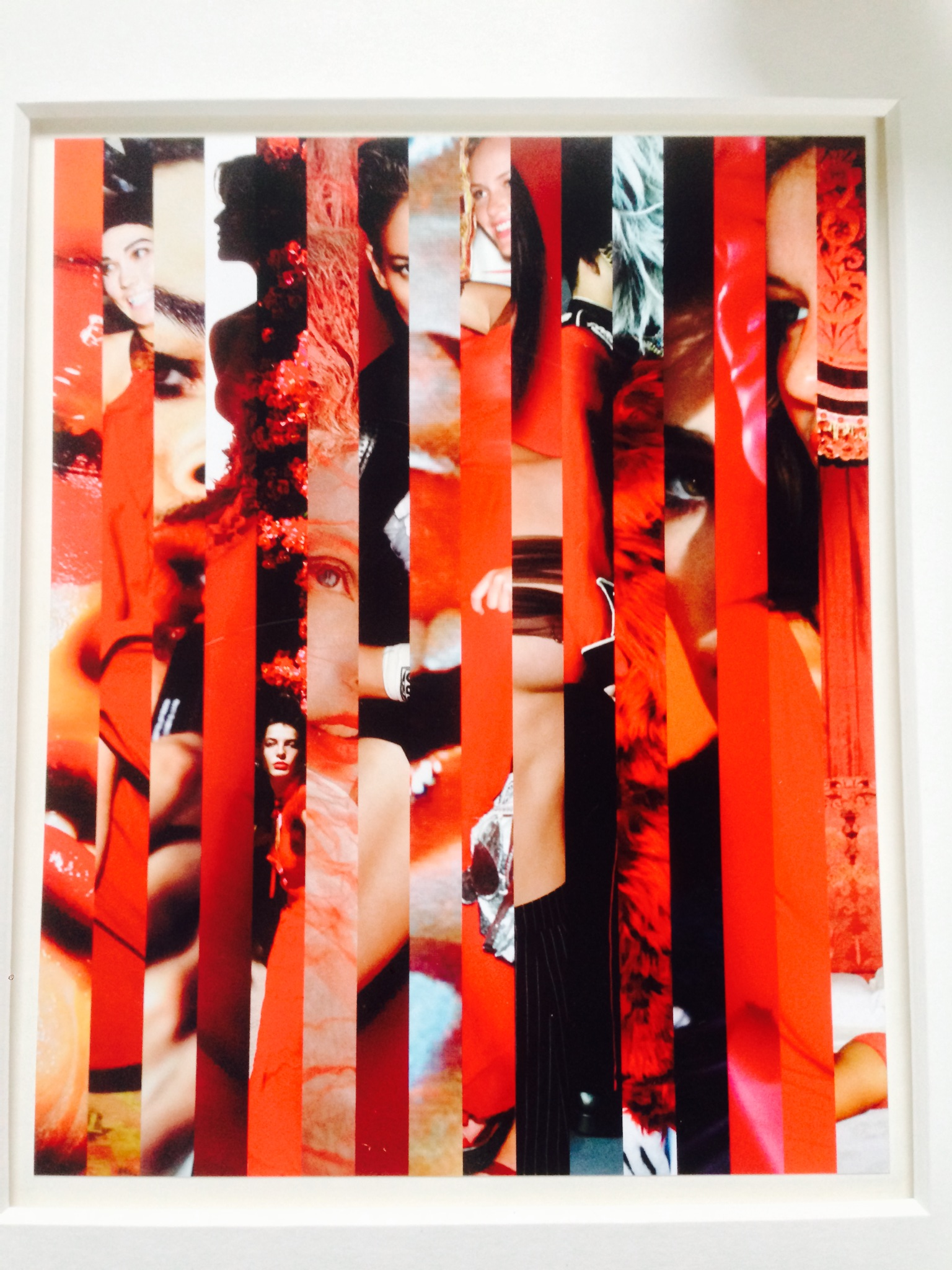 Lot 51 - Mario Testino  Vertical collage of his seminal photographs in red tones Signed on the back 26 x
