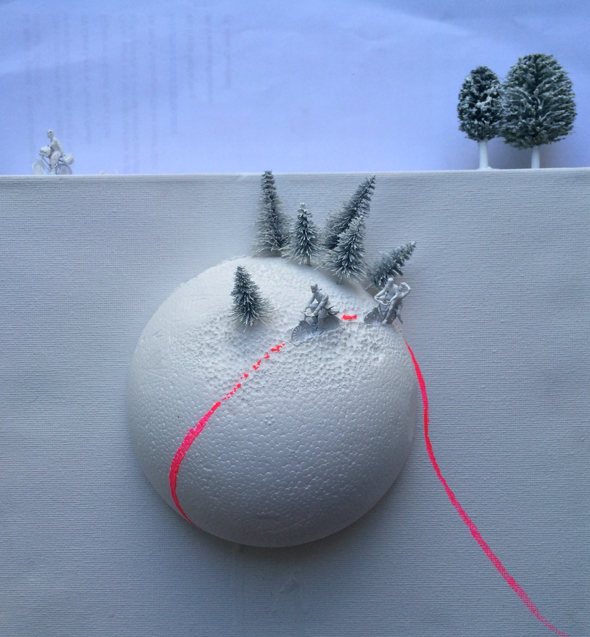 Lot 54 - Vanessa Galloway three dimensional paper sculpture  snow scene with hot pink trail . Interior