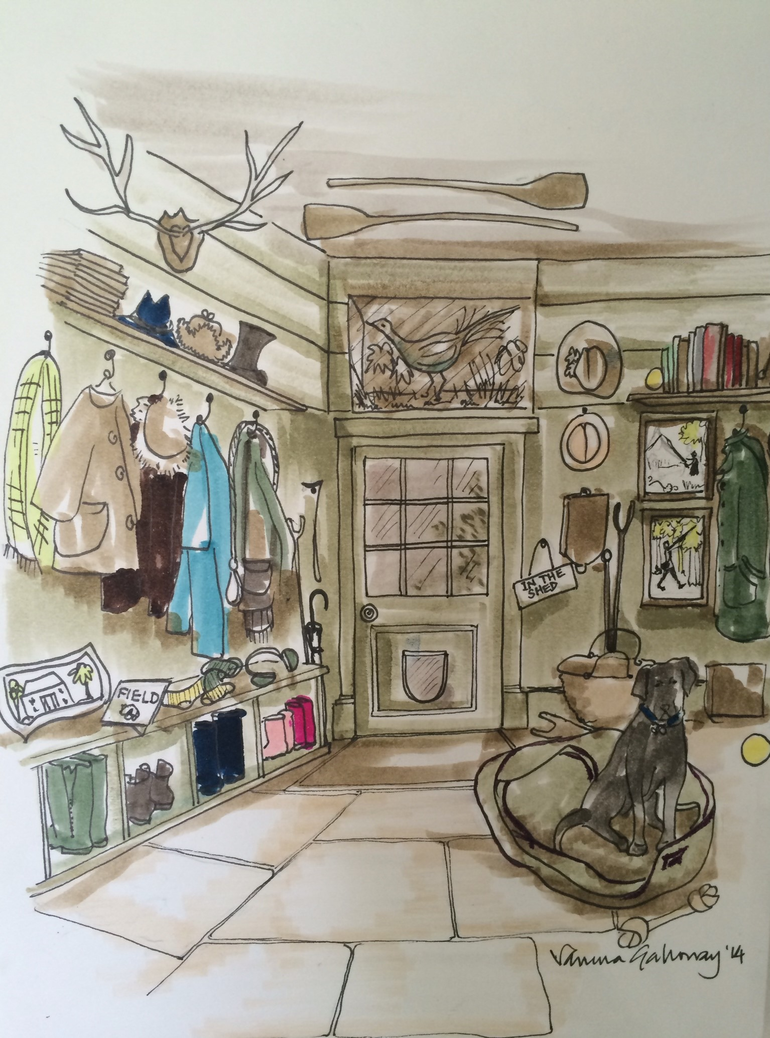 Lot 55 - Vanessa Galloway illustration of interior, pen and watercolour on card. Interior designer and house