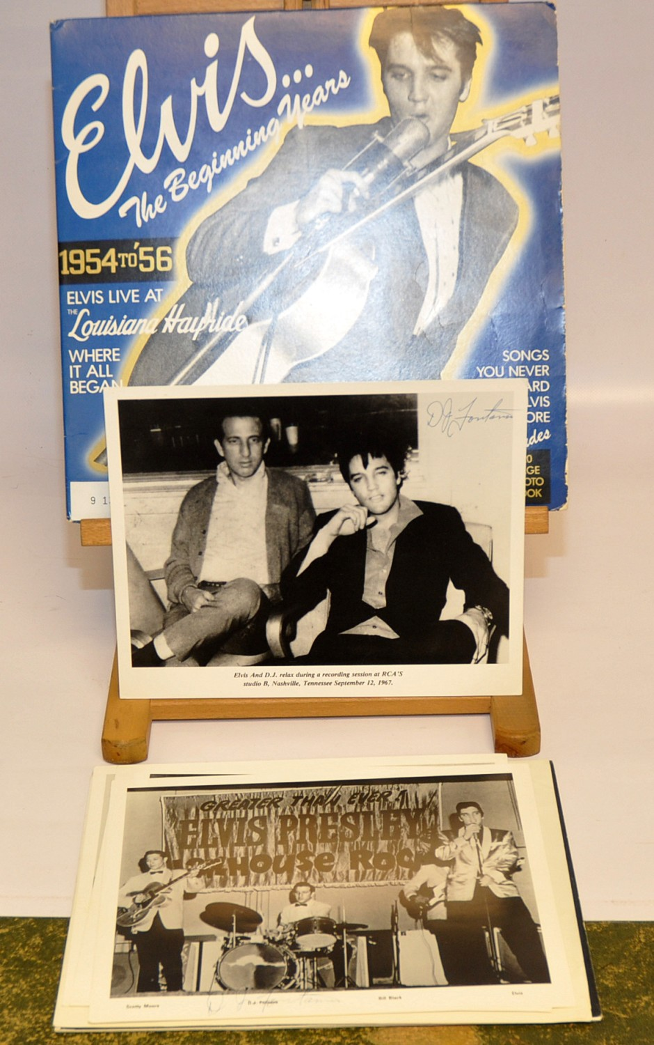 Lot 16 - `ELVIS THE BEGINNING YEARS`. LP INCLUDING PHOTOBOOK SIGNED BY D.J. FONTANA PLUS 4 PHOTOS SIGNED BY