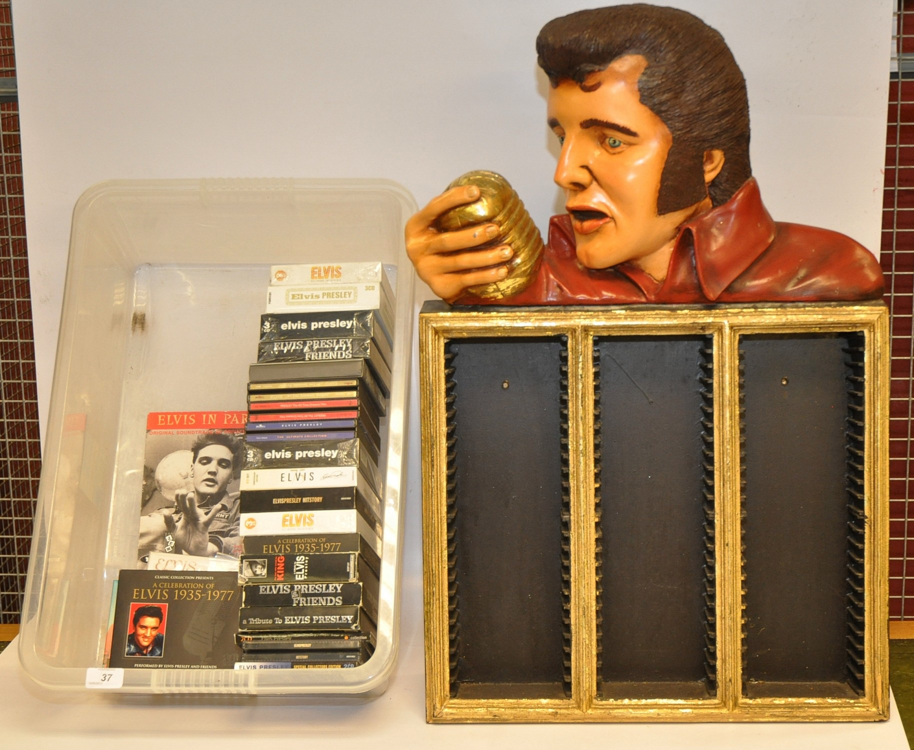 Lot 37 - ELVIS CD RACK PLUS BOX OF CDS
