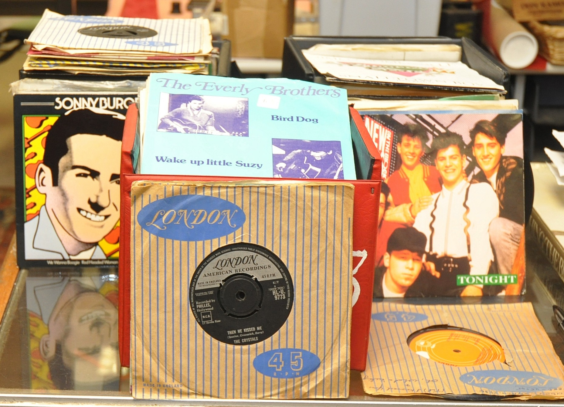 Lot 43 - ONE CASE ROCK AND ROLL SINGLES PLUS TWO CASES OF ASSORTED