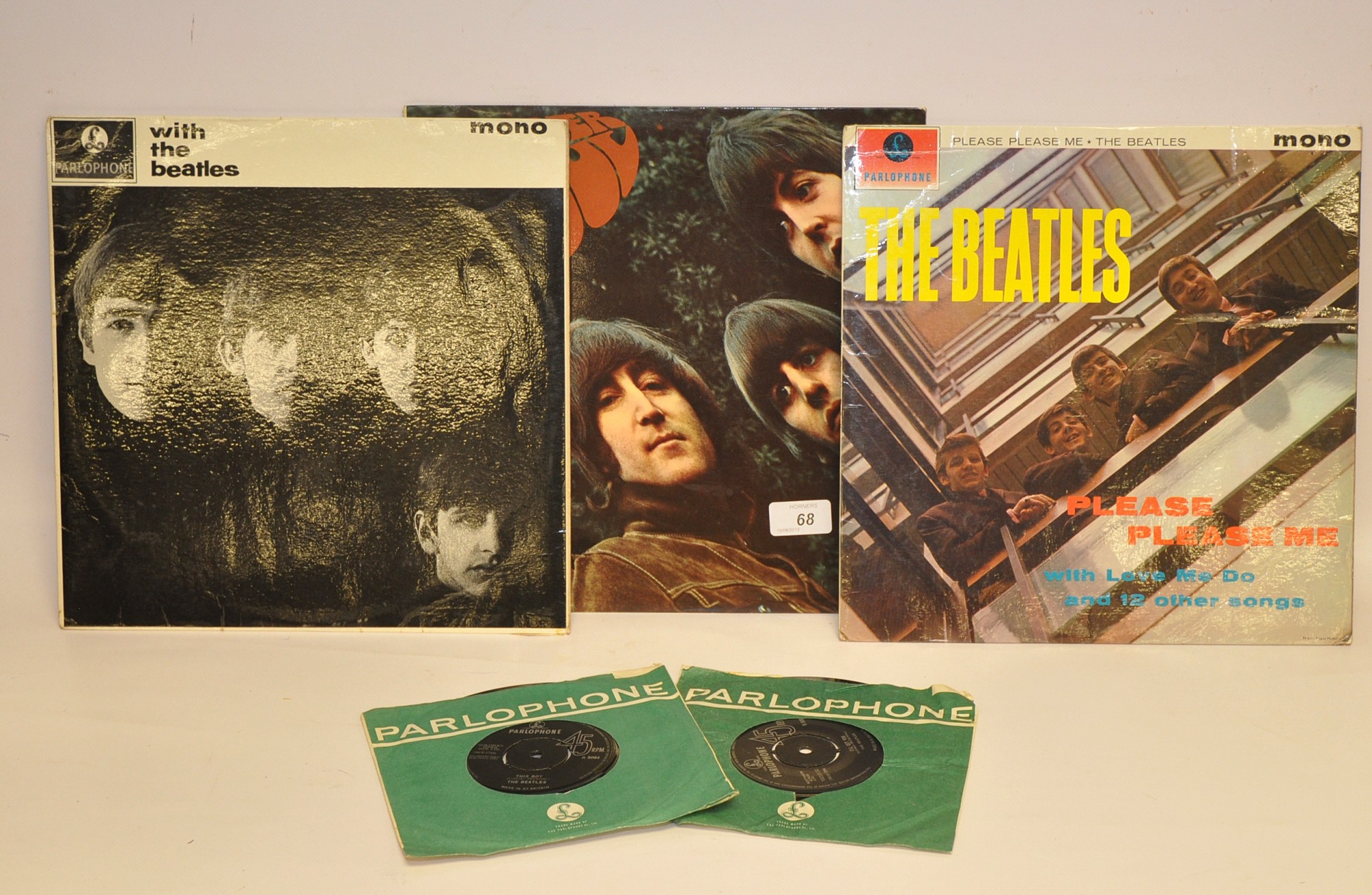 Lot 68 - THREE BEATLES LP`S - PLEASE PLEASE ME, WITH THE BEATLES AND RUBBER SOUL, PLUS TWO SINGLES
