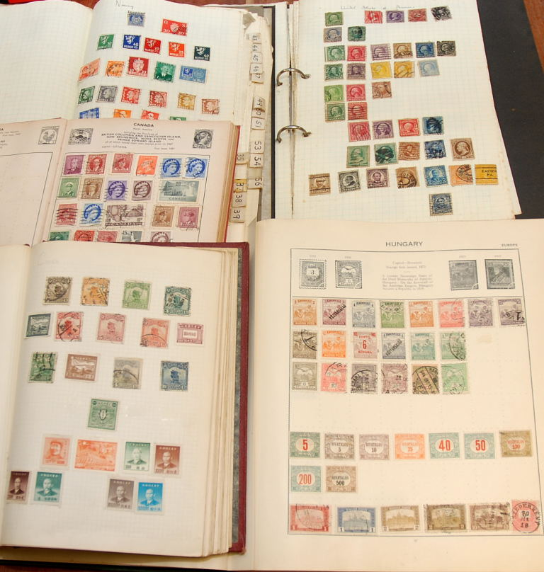 Lot 12 - BOX WITH GENERAL OLD-TIME FOREIGN COLLECTIONS IN FIVE ALBUMS (MANY 100'S)